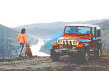 Jeep with Irene and Hershey overlooking the Clearwater River.